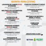 CONFIRA AS VAGAS DE EMPREGO DESTA QUINTA-FEIRA 27 - CADASTRE-SE NO SITE!
