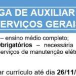 Empresa especializada em limpeza na execução de serviços de manutenção elétrica, hidráulica e limpeza está contratando:AUXILIAR DE SERVIÇOS GERAIS (moças e rapazes)