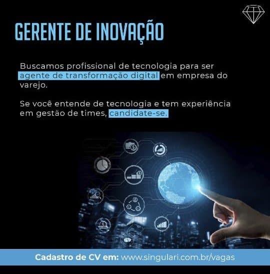 ENVIE SEU CURRÍCULO! Gerente de inovação, gerente de marketing, Assistente de RH & Gerente comercial