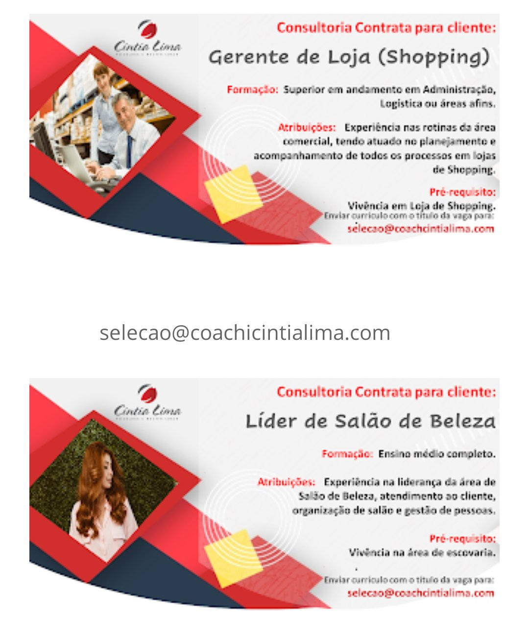 Consultora contrata para seu cliente; Líder de salão de beleza & Gerente de Loja (shopping)
